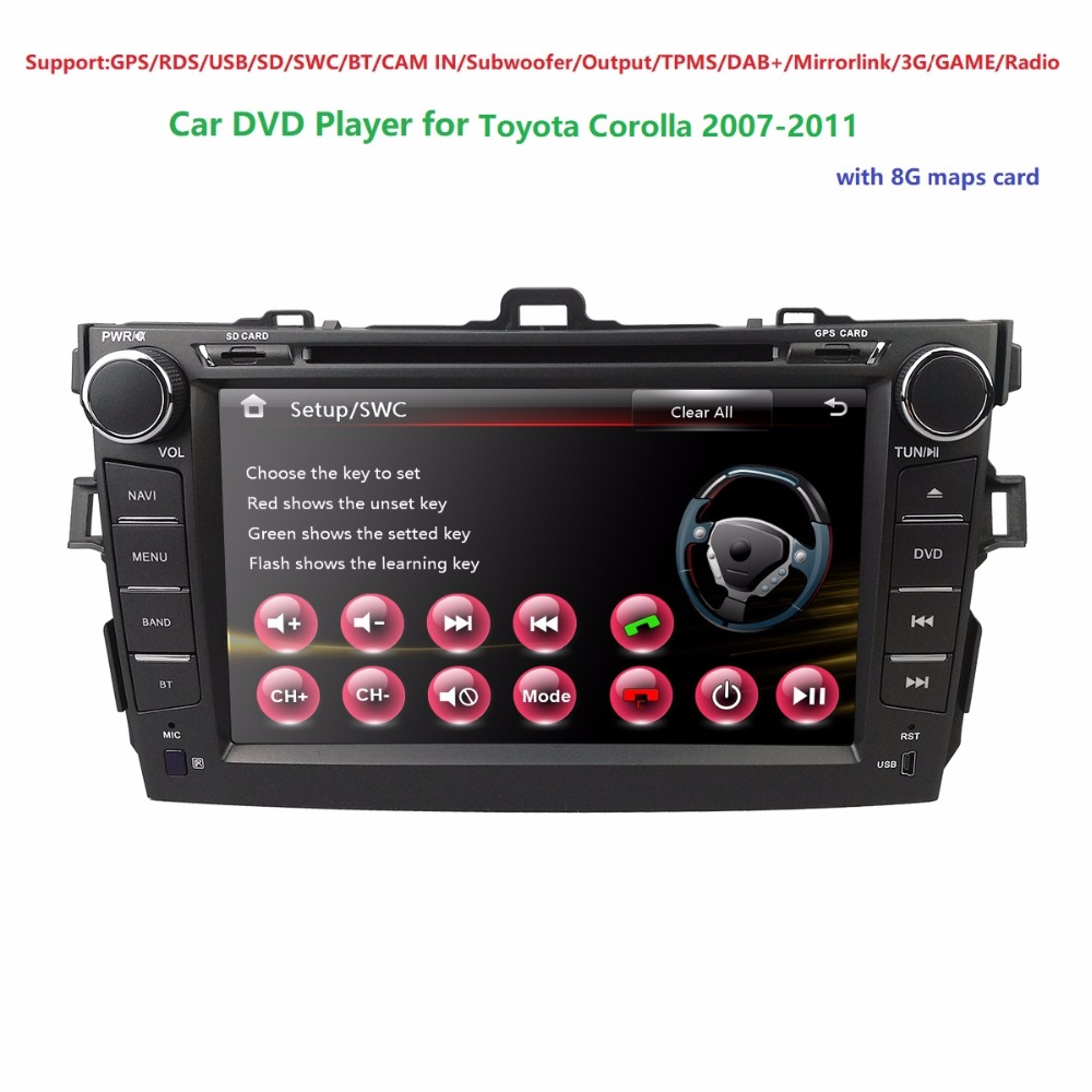 HD 8″ Screen Mirror GPS Car Radio Stereo DVD Player for TOYOTA Corolla 2007-2011 iPhone Music/AM FM Radio/SWC/Bluetooth/3G/AV-IN