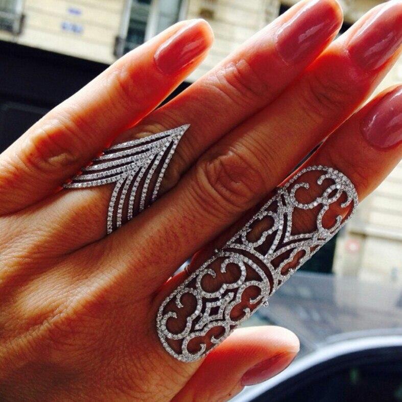 2018 полный фианит шеврон V палец кольца роскошные европейские женские модные элегантные серебряные цвета V большое микро кольцо с фианитами