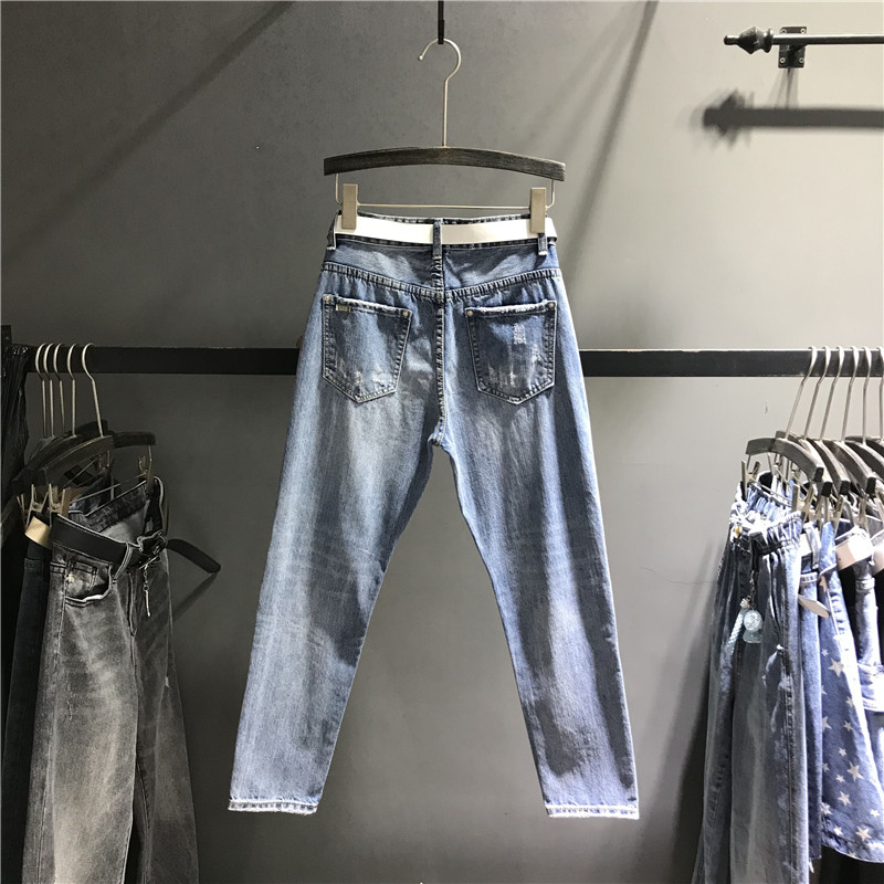 Lady Femelle Déchiré Femmes Coupe Pantalon Stretch Slim Jeans Décontracté Bleu Denim Streetwear Fit Pour K468 Taille Haute Lavé w4Z7B0q1