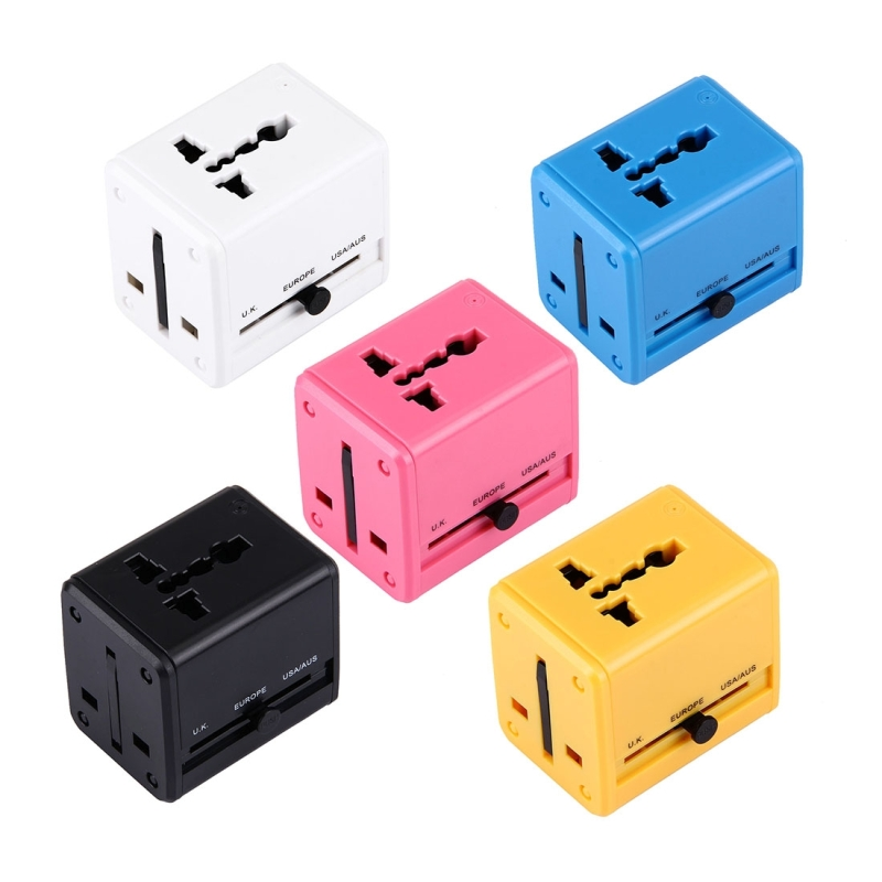 New Universal Travel Concealable Adapter Electric Plugs Sockets Converter US/AU/UK/EU with Dual USB Charging 2.4A
