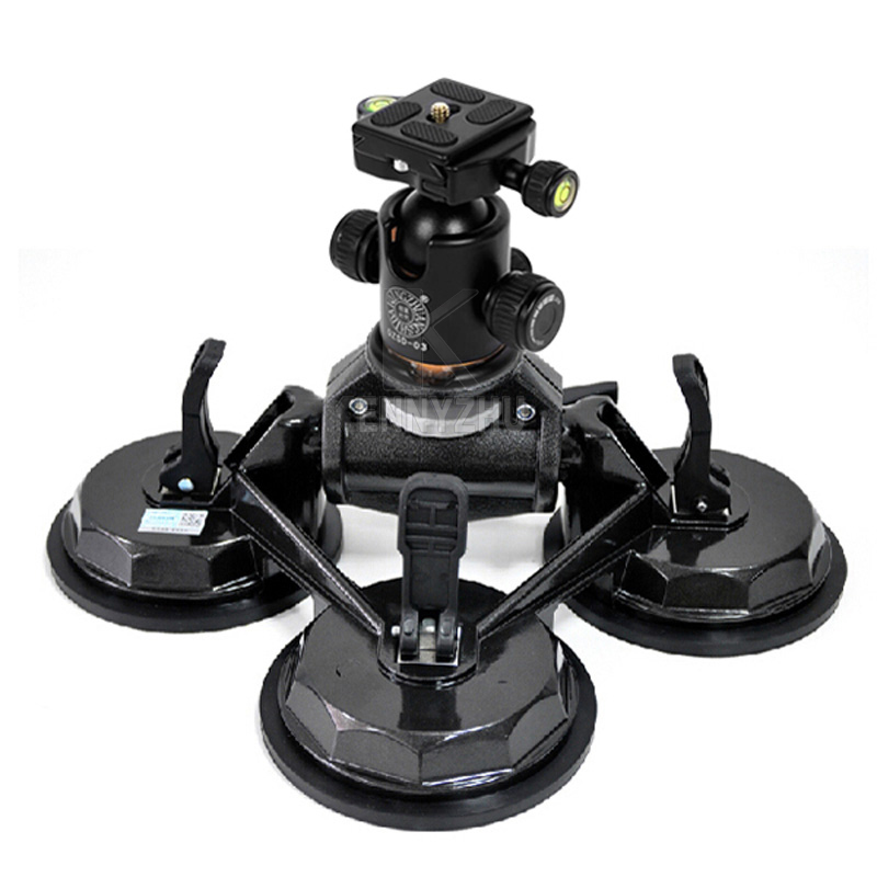 DSLR Car Three Suction Cups Stabilizer Auto Filming Sucker Mount Stand For Canon Nikon Sony Video Camera Camcorder 5D III IV