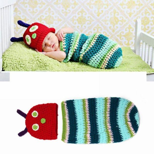 Niedliche Raupe Stil Baby Infant Newborn Handgemachte Häkeln Beanie ...