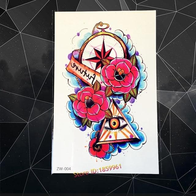 cd57ae2ff New Sexy Body Art Arm Sleeve Tattoo Armband Fake Tattoo Compass Rose Eye of  God Triangle