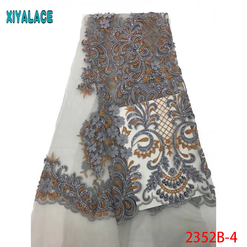 Navy Blue African Tulle Lace Fabric With Beads High Quality Sequins Embroidery French Lace Fabric For Party 5yards PGC2352B-2