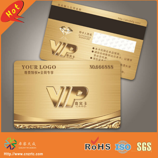 Calendars, Planners & Cards Special High Grade Fancy Magnetic Strip Panel Gold Plastic Vip Card