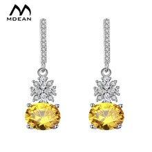 Mdean белого золота Цвет Висячие серьги для Для женщин Обручение желтый AAA циркон Pendientes Mujer Moda ювелирных букле d'oreille A020