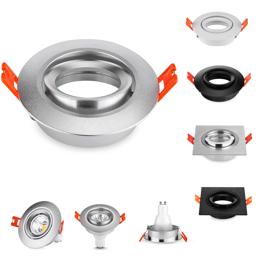 New Design Aluminum Round Silver LED Ceiling Light Frame Fixture Holders Adjustable Cutou 70MM LED Ceiling Spot Light Lighting