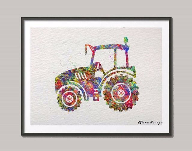 DIY Original watercolor Farm Tractor canvas painting Nursery wall art poster prints Pictures kids room Decoration  sc 1 st  AliExpress.com : diy kids wall art - www.pureclipart.com