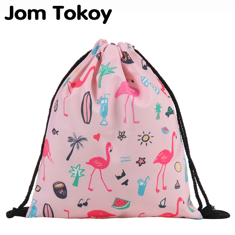 Jom Tokoy Fashion Drawstring Bag Printing Flamingo Mochila Feminina Drawstring Backpack Women Daily Casual Girl's Knapsack 29033