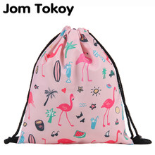 Jom Tokoy Fashion Drawstring Bag Printing Flamingo Mochila Feminina Drawstring Backpack Women daily Casual Girl's knapsack 29033(China)