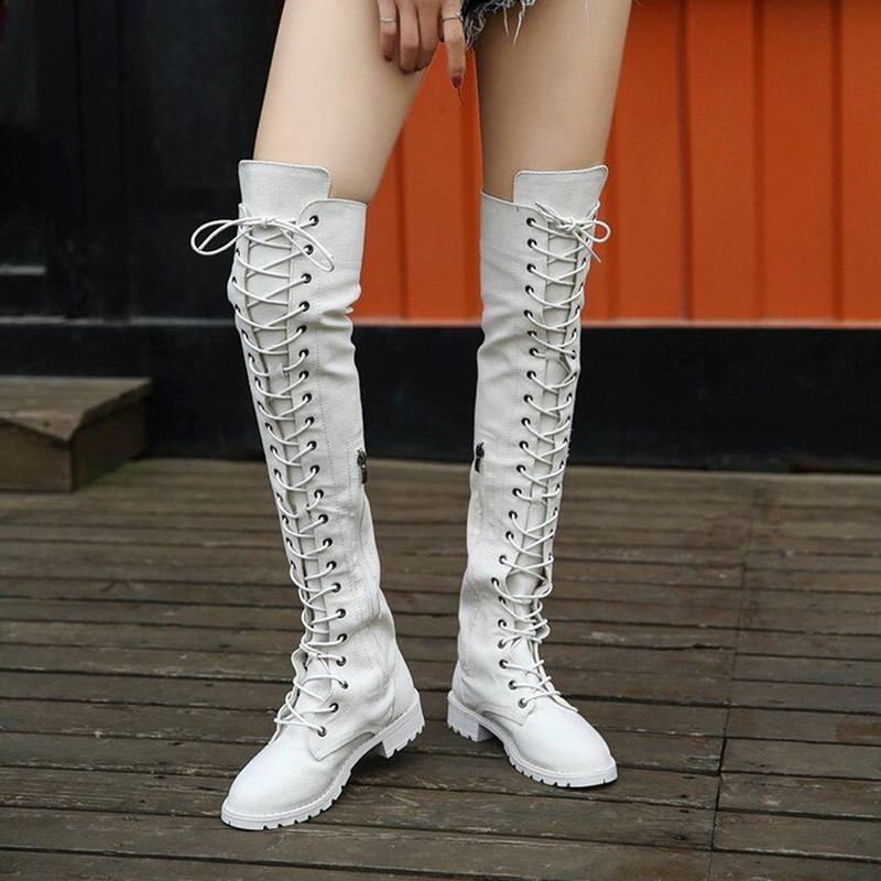 Sexy Lace Up Over Knee Boots Women Rome Boots Women Flats Shoes Women Suede Long Boots Botas Winter Thigh High Boots White недорго, оригинальная цена