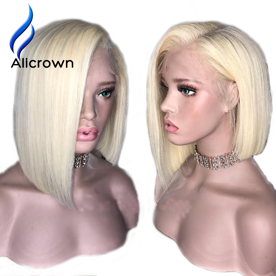 ALICROWN 613 Blonde Short Bob Lace Front Human Hair Wigs For Women Brazilian Remy 13 4