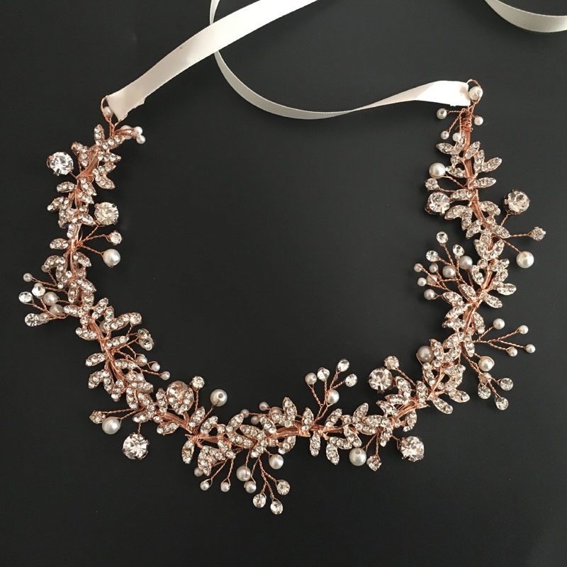 SLBRIDAL Rose Gold Wired Rhinestones Crystals Pearls Flower Wedding Headband Bridal Hair Vine Hair Accessories Bridesmaids Women недорого
