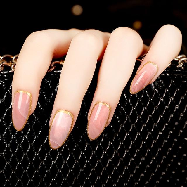 24pcs Almond Design Acrylic Nails Pink Marble Medium Sharp Stiletto False Nail Art Kit Diy Finger