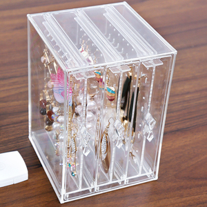 Clear Acrylic Makeup Jewelry Organizer Holder Earrings Stud Holder Necklace Organizer Case Cabinet Earrings organier C220-6