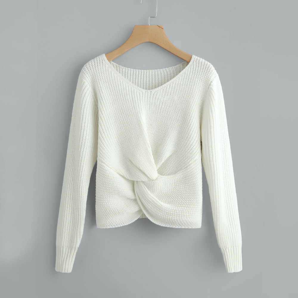 Pull femme hiver sweaters Long Sleeve Solid Color V-neck Sexy Cross Knotted Panel sweater women plus size roupa feminina