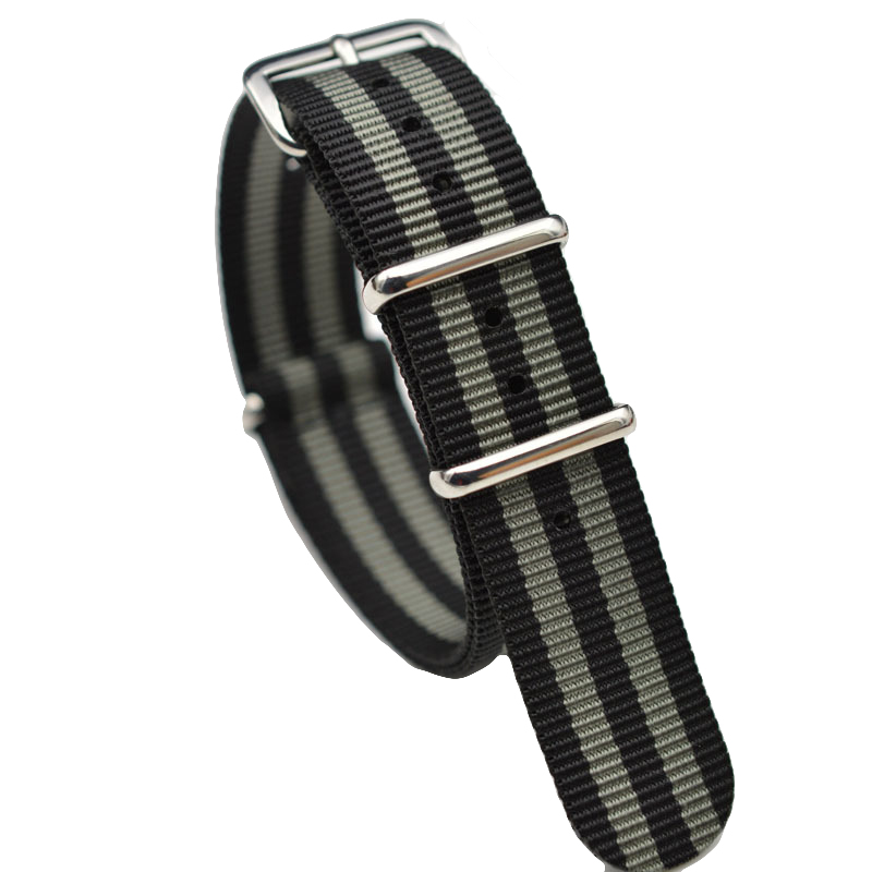 James Bond 007 20mm 22mm Nato Strap Watch Band Men Silver Pin Buckle Canvas Watch Strap