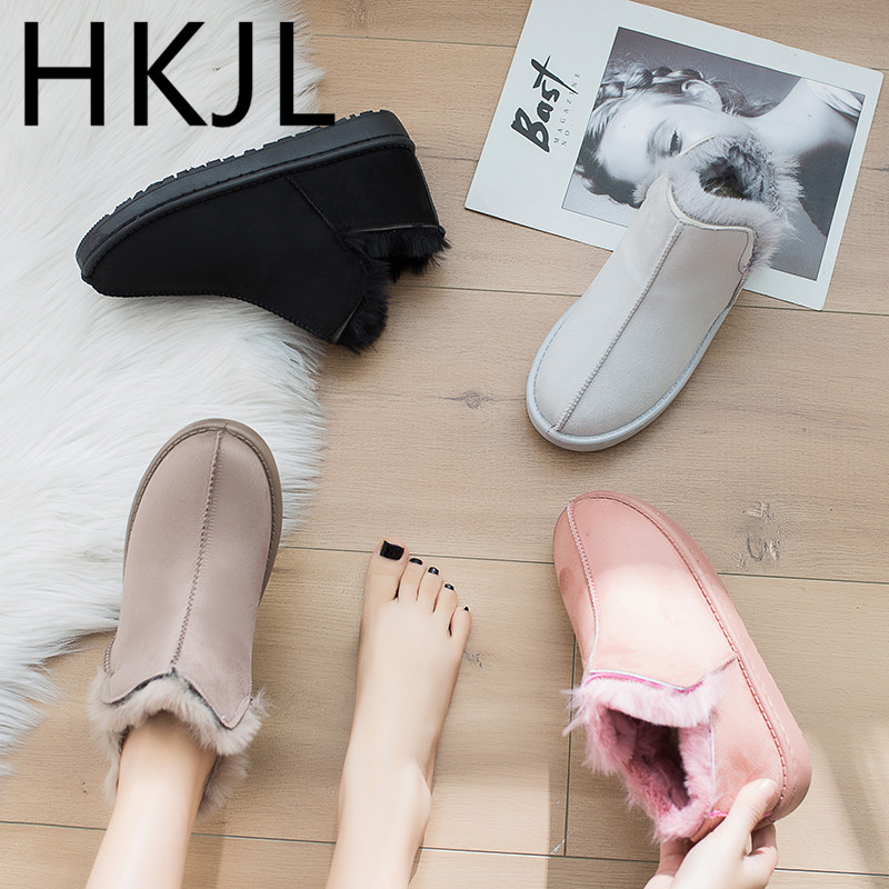 HKJL 2019 shoes woman winter new plus velvet warm snow boots ladies cotton women Women\x27s Z023