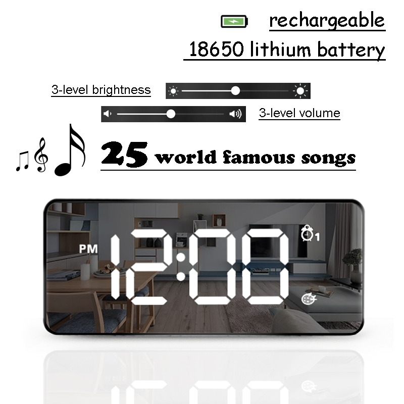 TXL LED Mirror Alarm Clock, 25 Songs World Famous, Rechargeable, Sound Activated, Controlable Brightness & Volume 2019 New