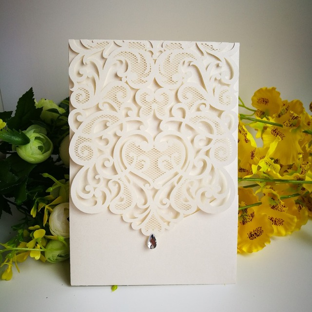 30pcs Wedding Invitations Card Laser Cut Mariage Cards Envelope Pearl Party Decoration Christmas