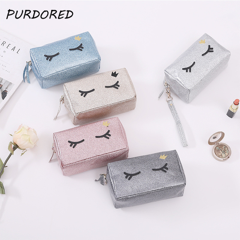 PURDORED 1 pc Eyelash Cosmetic Bag For Make Up PVC Travel Make Up Organizer Bag Beautician Functional Bags Dropshipping make up bag mano 13422 setru fuchsia