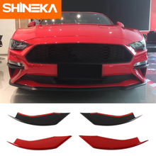 цена на Car Stickers For Ford mustang 2018 carbon fiber Front Fog Light Eyelid Decoration Cover for Mustang 2018+Car Styling Accessories