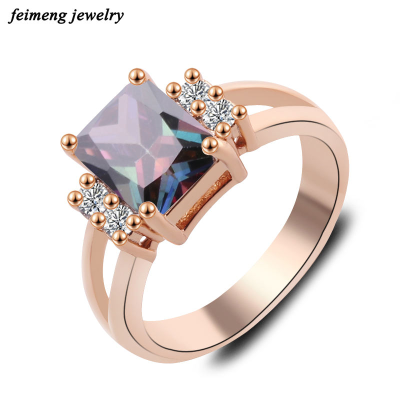 2018 lady Aristocratic Inlaid Square Zircon Blue Crystal Rings For Trendy Lady  Jewelry Rose Gold Color women Engagement Rings