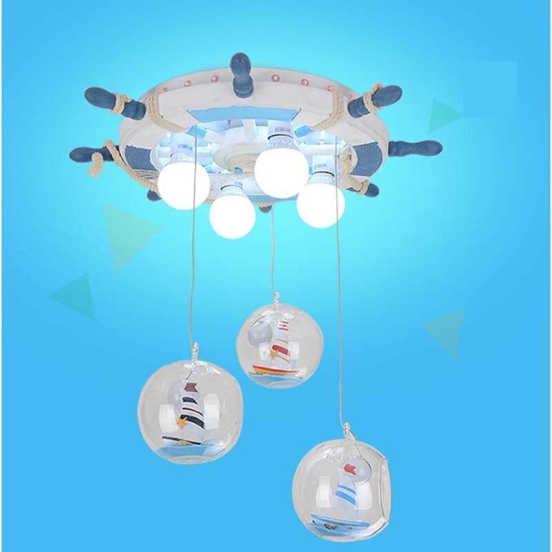 Kindergarten retro ship rudder pendant light Villa lighting children s room bedroom lights girls LED pendant