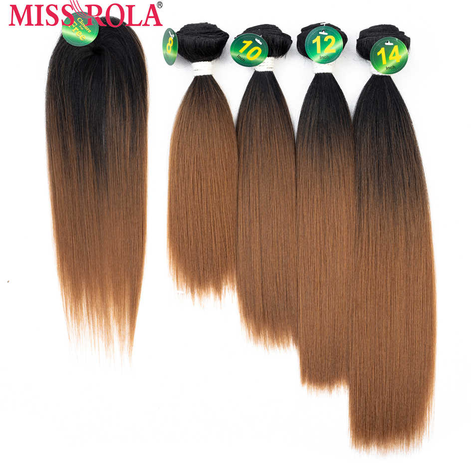 Miss Rola Synthetic Yaki sraight Hair Weft Ombre Colored Hair 8-14inch 4+1pcs/Pack T1B/BUG Weaving Bundles With Free Closure