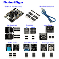 IoT KIT WeMos D1 Mini PRO ESP8266 32Mb Shield Set Dual ProtoShield Button Relay Data Log