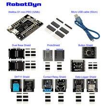 Zestaw IoT: WeMos D1 mini pro ESP8266 32 Mb, zestaw osłon: podwójny, ProtoShield, przycisk, przekaźnik, dziennik danych kompatybilny z Arduino FiWi IoT