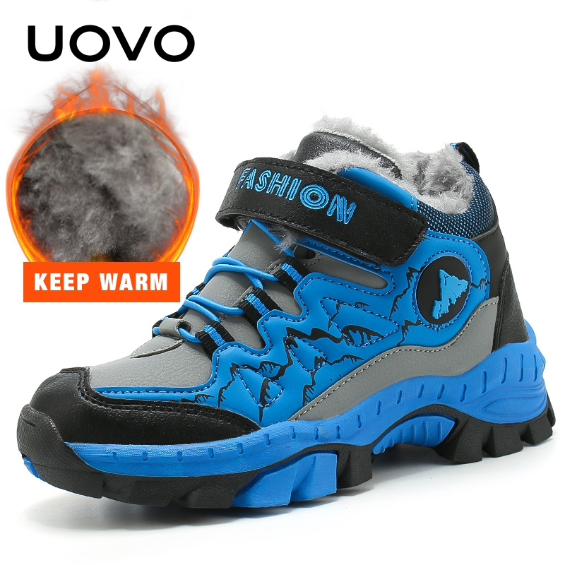Waterproof Outdoor Shoes UOVO Fashion New Arrival Boys Kids Sport Shoes Anti-slip Children Casual Sneakers Size #31-40 2018 new winter arrival mid calf boys shoes fashion kids sport shoes brand outdoor leather children casual sneakers for boys