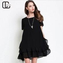 Summer Women's High Quality Chiffon Dresses Plus Size Elegant Ruffles Red Black For Lady Dress Pleated Woman Clothing M-5XL