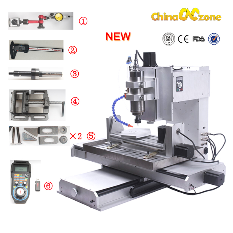 Cnczone 5 Axis Router Engraving Machine 6040 USB Ball Screw CNC Pillar Type Wood