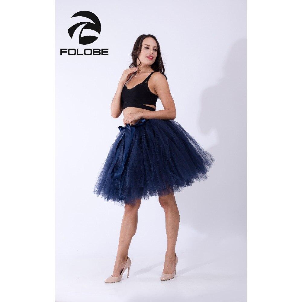 la mejor moda predominante más popular € 18.31 43% de DESCUENTO|FOLOBE azul marino hecho a mano Midi de tul falda  Tutu Mujer faldas de bola vestido de fiesta falda faldas saia jupe TT010-in  ...