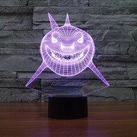 7 Colors Changing Night Light 3D LED Light Underwater World Fish Shark Octopus Whale Desk Table
