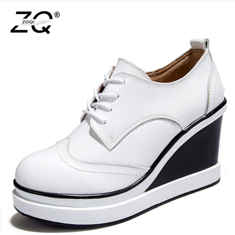 ZOQI Women Wedges Shoes Woman High Quality Fashion 2017 Lace Up On Shoes For Women Height Increasing Platform Shoes White Black hee grand fashion height increasing women shoes zip white black women casual pumps wedges shoes drop shipping xwc471