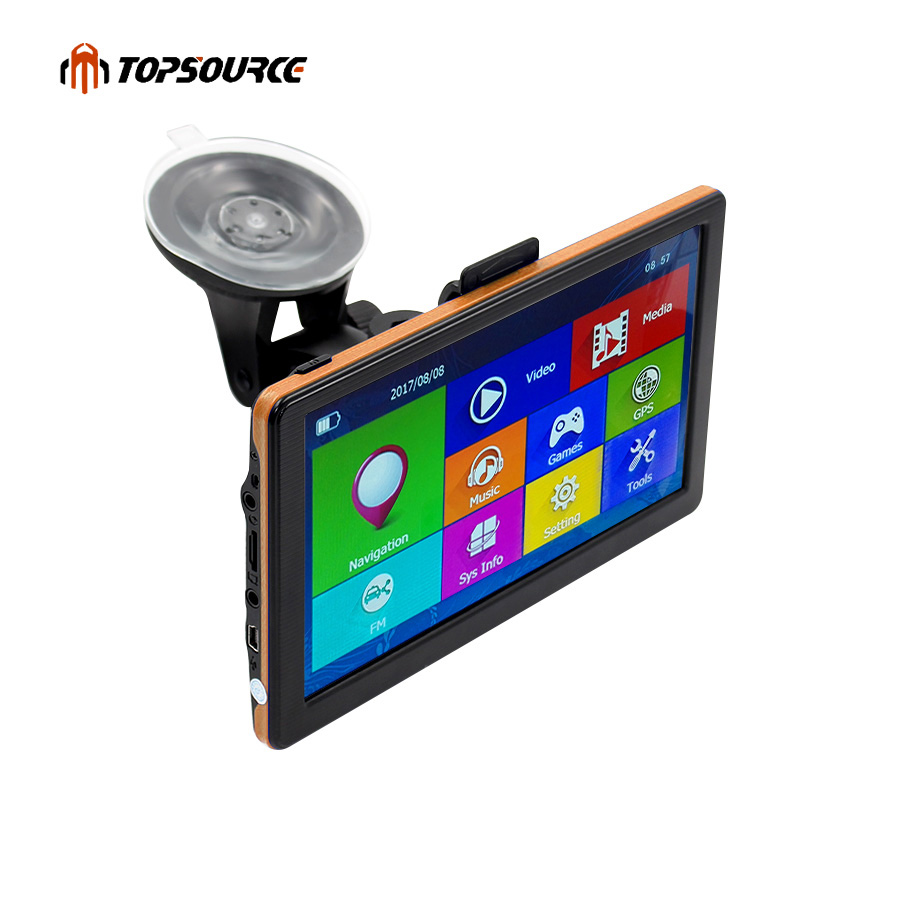 TOPSOURCE Car GPS Navigation 7 Inch HD Capacitive Screen FM Built in 8GB Map For Europe/USA+Canada Truck Vehicle GPS Navigator junsun 7 inch hd car gps navigation bluetooth avin capacitive screen fm 8gb vehicle truck gps europe sat nav lifetime map