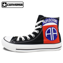 Black Athletic Sneakers Shoe Men Women Canvas Shoes Hand Painted Logo of 82nd Airborne Division Custom Design Brand Converse