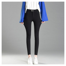 Women High Waist Pants Pencil Trousers 2019 Spring Fall Khaki Stretch For Slim Ladies Jean Female GBQ