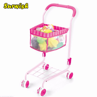 Surwish Mini Supermarket Cart Simulation Shopping Trolley with Fruits and Foods Toys for Kids