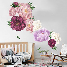 1PCS 3D Peony Flowers Wall Sticker Vintage Watercolor Stickers Removable Room Decoration Decor 40*60CM