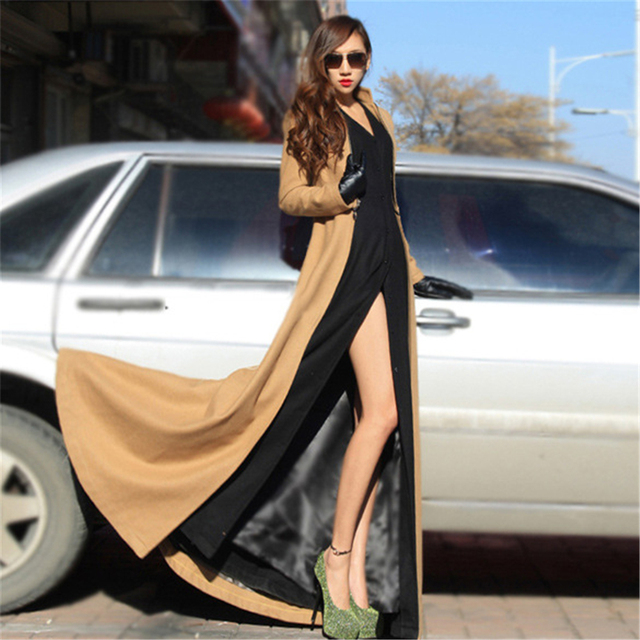 SZMXSS Women Winter Maxi Long Woolen Coats Cool Style Floor Length Slit  Wool Zipper Removable Big