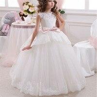 FeiYanSha Girls Dress Flower Mesh Children Lace Dresses Wedding Party Long Ball Gowns Birthday Clothing For