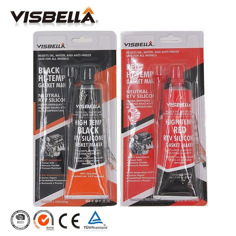 VISBELLA 2 шт. Нейтральный RTV прокладочный герметик 85 г высокотемпературный силикон резиновый влагостойкий клей наполнители клей-герметик - Цвет: red black
