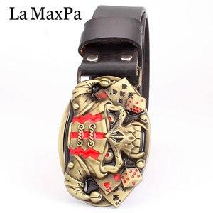 Image 3 - Cool belt for men punk belt golden skull buckle Skull clown pattern cow leather Gambler Skeleton hip hop belt mens gift