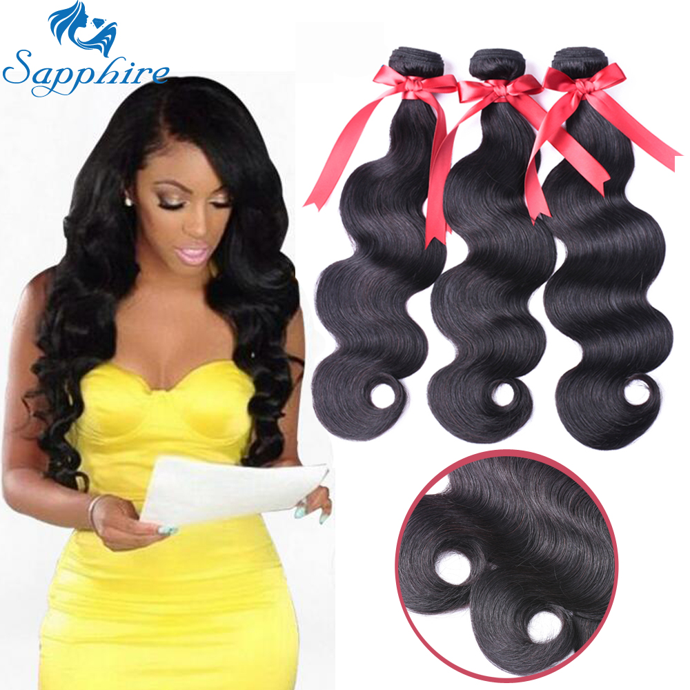 Sapphire Brazilian Body Wave Hair Bundles 100 Human Hair Extensions Natural Color Remy Hair 3 Pieces