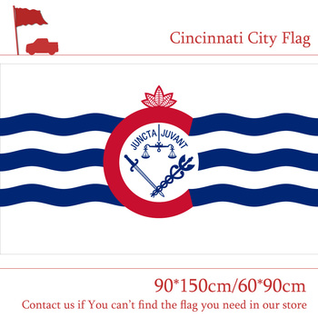 US 3x5 Foot Polyester Banners Cincinnati City Flag Ohio State 90*150cm 60*90cm Flag For Vote Home Decoration Event image