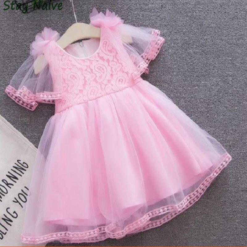 Новинка 2018 года; белое/розовое летнее вечернее платье с пышными рукавами и цветочным принтом для девочек на день рождения Детская одежда дл...