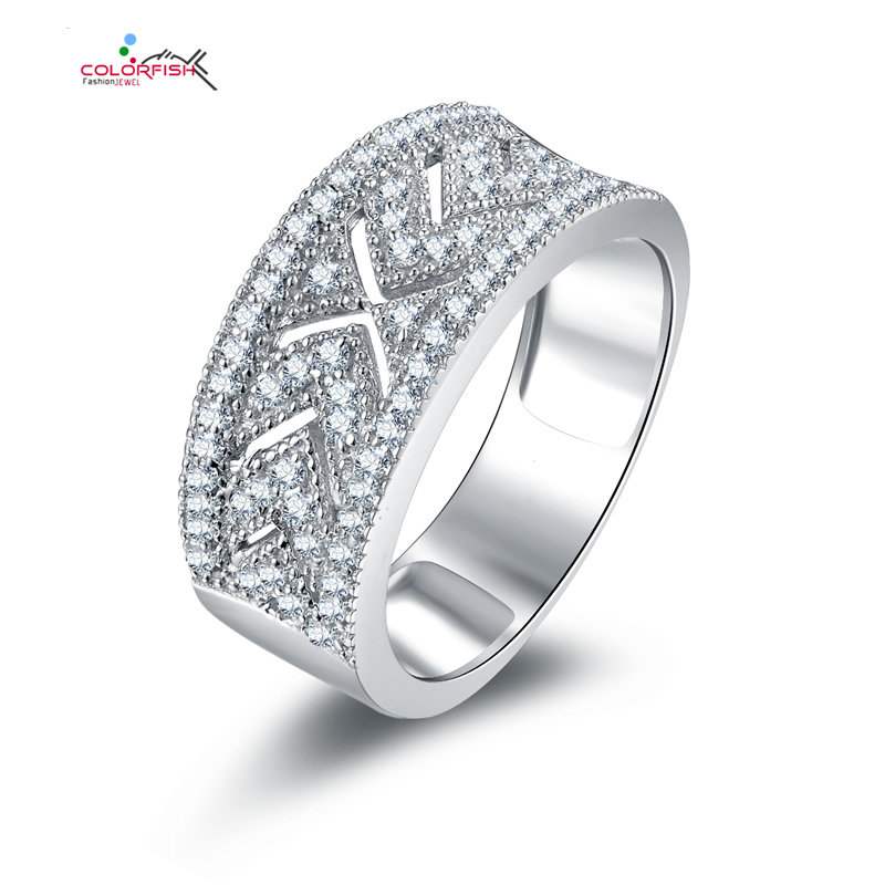 COLORFISH 925 Sterling Silver Eternity Wedding Band Ring For Women Fancy Double Row Channel Set cz Zirconia Luxury Finger Rings bravkis wedding bands eternity rings with zirconia for women cz crystal promise engagement finger ring bague jewelry bur0279